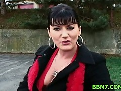 Hot milf shows her pussy in public