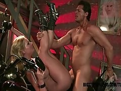 Charley Chase and Aletta Ocean getting their pussies fucked hard