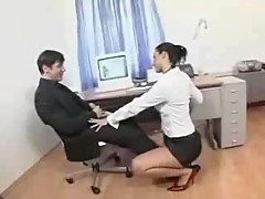 Horny secretary takes cum after anal sex
