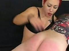 Redhead, filthy whore brutally spanked young slut's butt