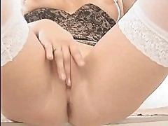 Blonde Teen smoking stocking tease