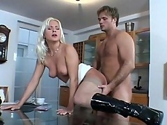 Hot blonde pounded on top of glass dinner table