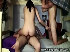College slut takes on two cocks