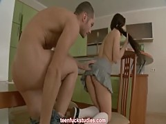 Teen student in knee high socks doing a guy after blowjob