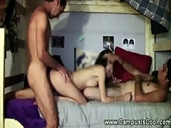 Hot college slut gets spitroasted w cock
