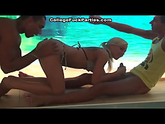Steamy threesome at party