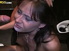 Hot Brunette Has Her Wet Pussy Filled By Two Hard Cocks