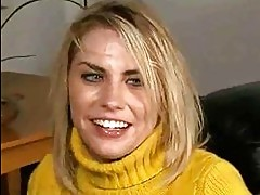 Sexy blonde with big tits fucks in yellow sweater and shaved...