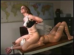 Horny Blonde Cougar Boss Licks Her Secretary's Pussy And Toes On The Desk