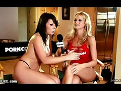 Topless newsgirl interviewes a chick