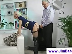 Old man fucks british slut in boots
