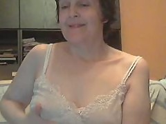 Older woman chatting online
