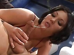Brunette babe Claire Dames is nailed in both holes before a ...