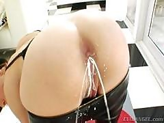 Brunette Dana Dearmond Sticks Mild Up Her Ass And Then Squirts It Back Out