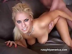 Blonde Hottie With Big Boobs Mia Bangg Gets Some Cream On Her Tits