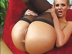 Stocking clad slut Phoenix Marie licks her cum creampie from...