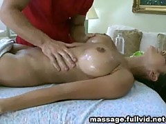 Oiled up on massage table