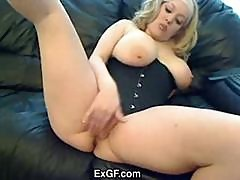 Chubby Blonde Ex Girlfriend Rubbing And Toying Her Wet Pussy