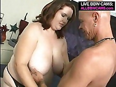 Amazing Bbw And Bald Guy Doing It...