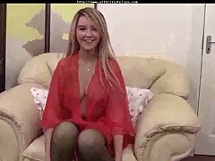 British Katie Kay in red lingerie
