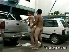 Hot Latina Fucked in Car Service