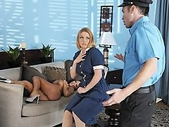 Hot busty brunette wife & blonde maid slut fuck cop in threesome