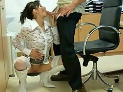 Mature couple fuck in office