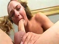 Teen in pigtails gagging on cock meat