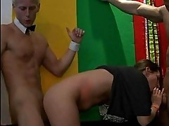 Brunette slots sucking hard cock