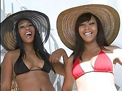 Pretty ebony Leilani Leeane and her gf pickup dude