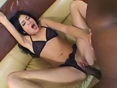 Skinny slut and his monstrous ebony cock