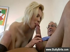Blonde sitting on the cock of an old man