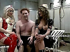 Gorgeous mistresses with beautifull large breasts tormenting man fucking him in dominatrix sex